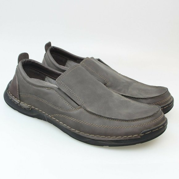 IZOD Mens Brown Faux  Leather Memory Foam Loafers